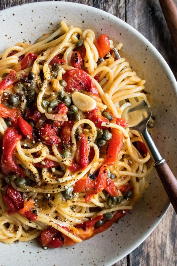 Roasted Red Pepper Pantry Pasta - The Original Dish