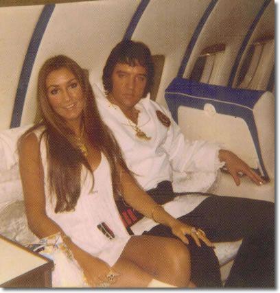 Linda and Elvis traveling on The lisa Marie Jet 1975