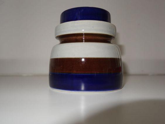 Zuckerdose Melitta: Bückeburg - blau braun grau gestreift -handgemalt vintage