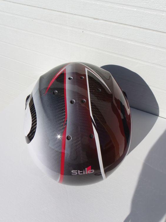 """Personnalisation sur un casque Stilo Carbone, réalisation de ADC decor à l'aérographe """"airbrush""""."""