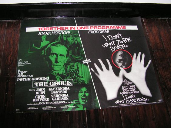 Vintage 1975 The Ghoul And I Don't Want To Be Born Double Bill Film Movie Poster UK Quad Hammer Horror Peter Cushing John Hurt Joan Collins by VintageBlackCatz on Etsy