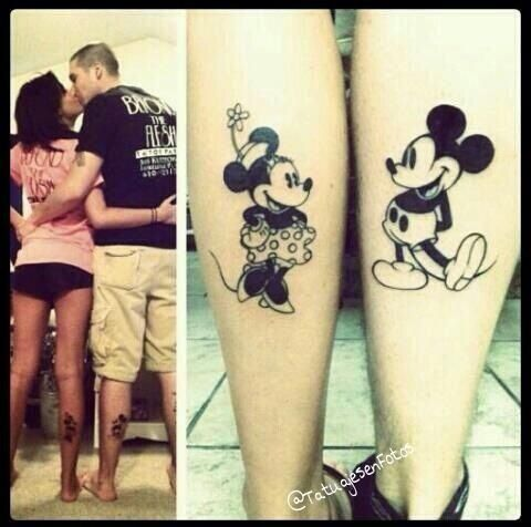 instead of couples tattoos jus one character on each leg facing eachother