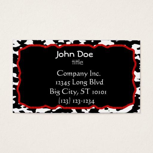 Cow print red border black and white business card black and red cow print red border black and white business card black and red business cards pinterest colourmoves