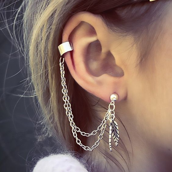 Ear-Cuff mit Kette & Blatt-Anhänger - Lesara