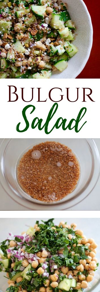 A take on Jennifer Aniston's perfect salad <3, this vegetarian Bulgur Salad recipe is refreshing, healthy & filling with cucumbers, garbanzo beans, feta & pistachios!   sarahnspice.com