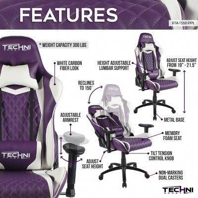 Ergonomic High Back Racer Style Video Gaming Chair Purple Techni Sport Gamingcomputerdeskstyle Gaming Chair Lumbar Support Cushion Games
