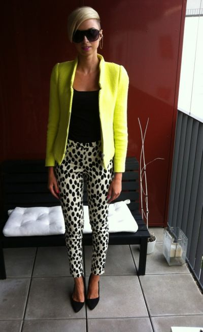 Dalmatian print with black and neon green.