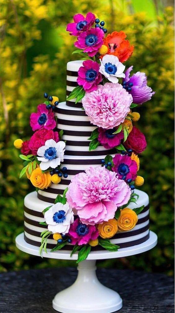 stripped cake