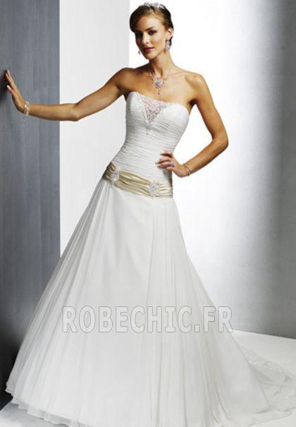 Robe de mariée Lacet Bustier Sans Manches Hiver Salle des fêtes