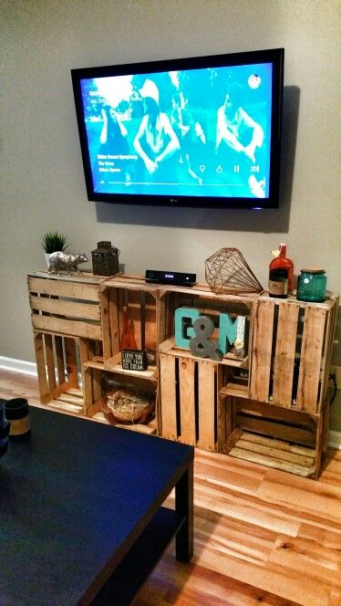 Another pic of my super easy crate TV Stand  Love it. DIY Crate TV Stand   A tv  My last and Crates