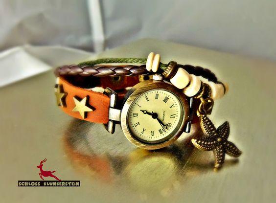 STARLIGHT Wickeluhr retro vintage Armbanduhr braun von Schloss Klunkerstein - Retro Uhren & Designer Schmuck - selbst hergestellte Einzelstücke für außergewöhnliche Menschen. Naturschmuck und einzigartige Geschenke. Unikate in Handarbeit und antike Vintage - Schätze auf DaWanda.com