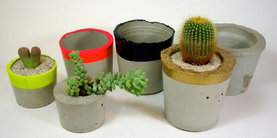 Concrete planters by dachshundinthedesert on Etsy