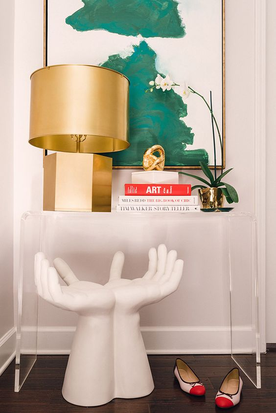 Console Table Styling Tips mixing Gold, Green, White & Red: