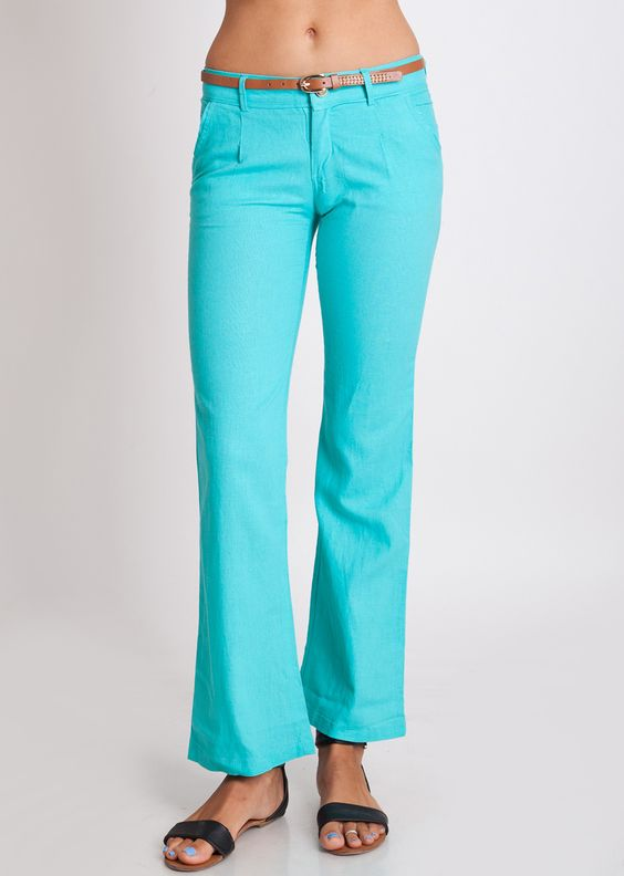 Mint Linen Belt Pants #linen #pants #mint #beachwear | Stylish ...