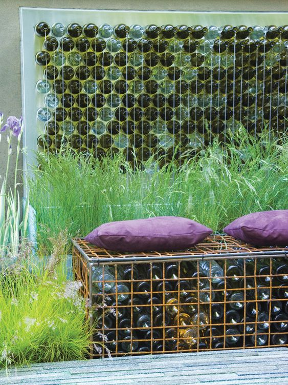Gorgeous Outdoor Looks to Steal Retaining walls, Bench and Bottle - gartenideen wall