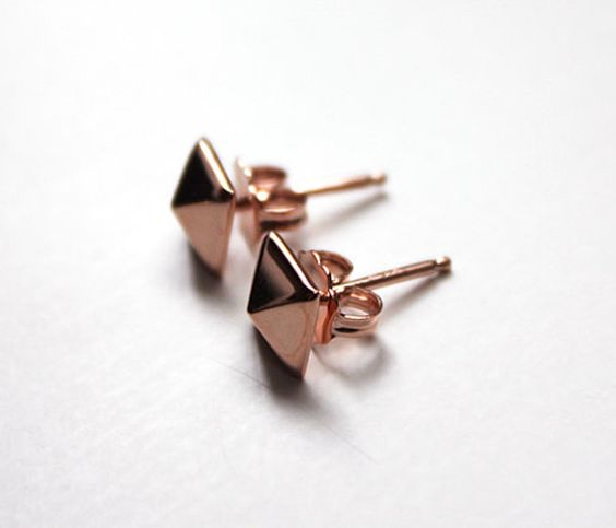 Rose Gold Pyramid Earrings