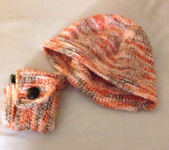 Knitted hat with matching crocheted cigarette & lighter cozy