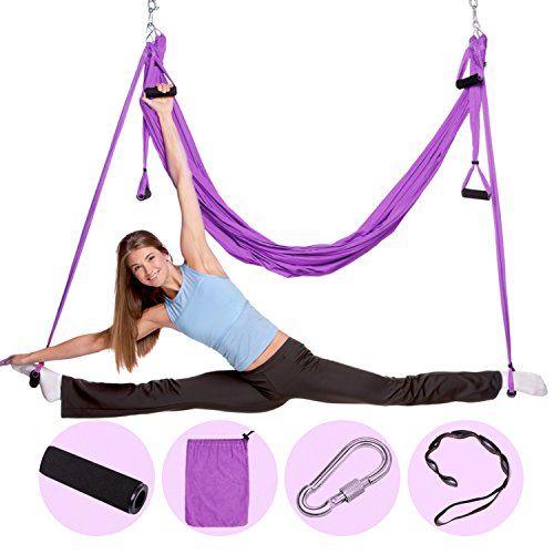 Yoga Swing Hammock Trapeze Sling Aerial Silks Set Anti-gravity Inversion Fitness