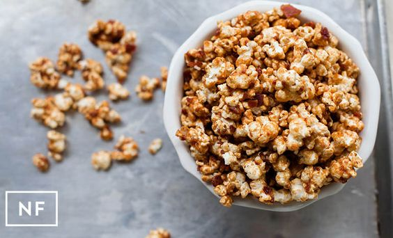 Bacon-Peanut Butter Popcorn #baconlovers #popcorn #snacktime #northernfork
