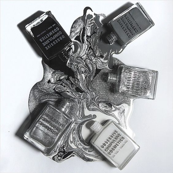 Explore the greyscale with #OCCNailLacquer!  Clockwise from top right: Dangerous, Arsenic, Feathered, Spanglemaker & Tarred.