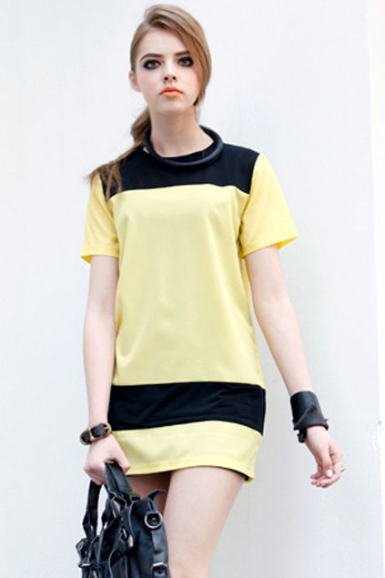 Sheer Panel Detailed Yellow Shift Dress