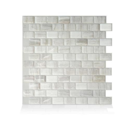 Smart Tiles 4 Pack White Taupe Tan Beige 10 In X 10 In Multi Finish Composite Vinyl Tile Lowes Com Smart Tiles Stick On Tiles Vinyl Wall Tiles
