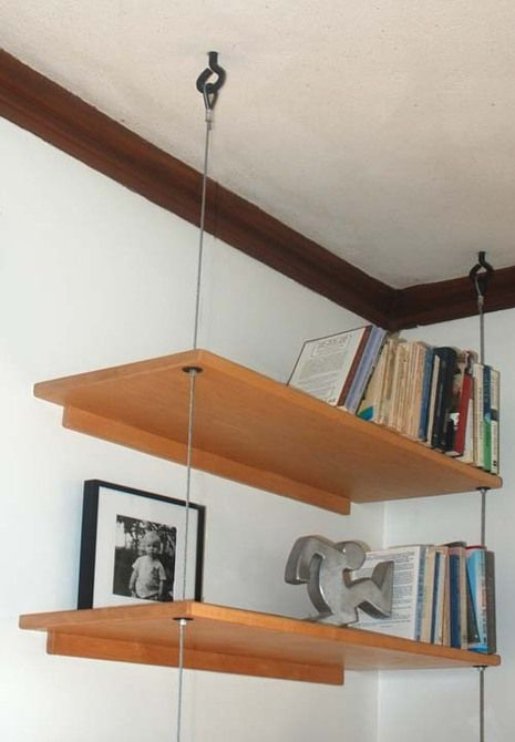 Diy able suspended shelving a well cable and glasses for Hang photos from wire