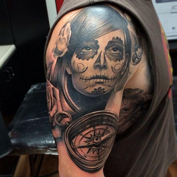 Realism Muerte Tattoo With Compas Tattoo For Arm Hand Tattoo Designs Ideas  #Blackandgrey #Realist #Realism #Realistic #Muerte #Girl #Tattoo #Tattoos   www.ontattoos.com