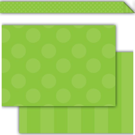 """Green Sassy Solids Double-Sided Border - These double-sided borders have unique designs on both sides. Use separately or stack together to create your own design. 12 (36"""" x 3"""") strips."""