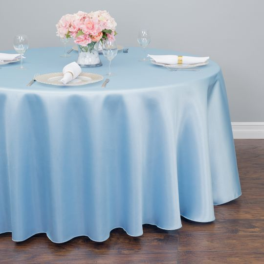 LinenTablecloth 118 in Round Satin Tablecloth Peach
