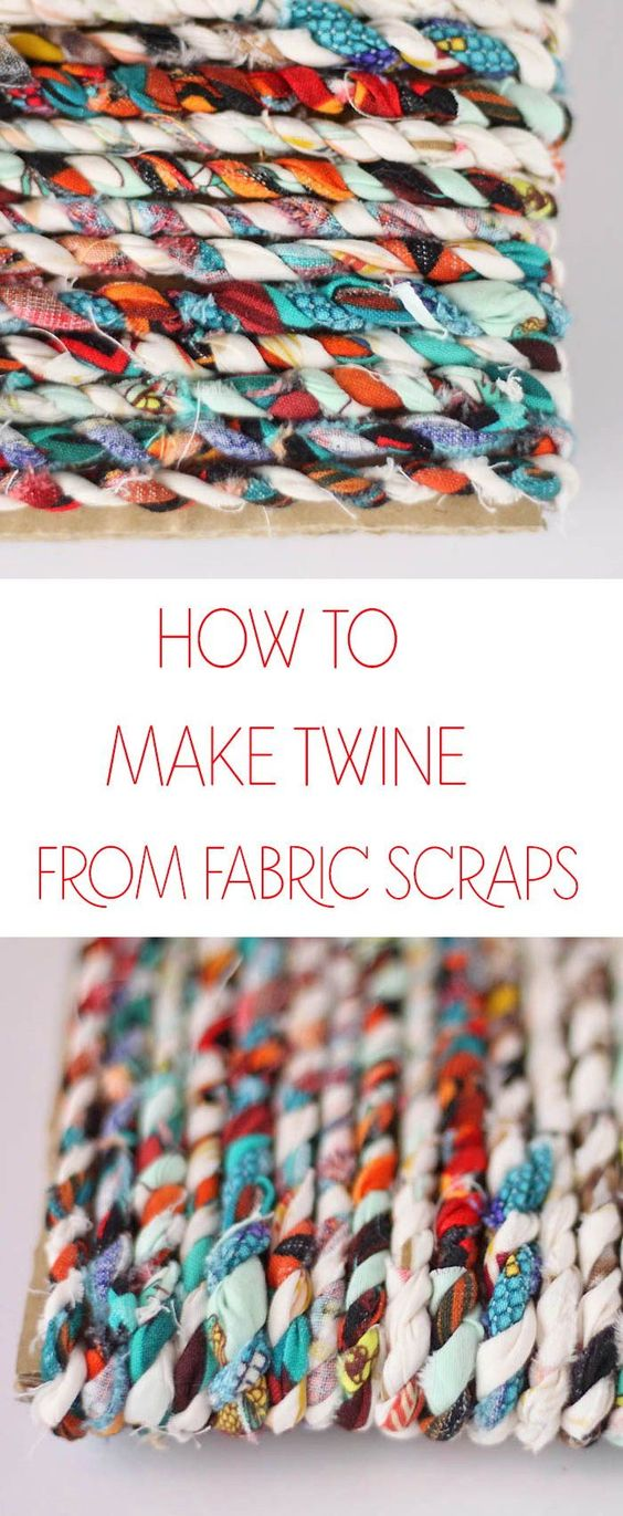 Learn how to turn your fabric scraps into twine! Perfect for sewing projects, wrapping gifts, etc. #DIY