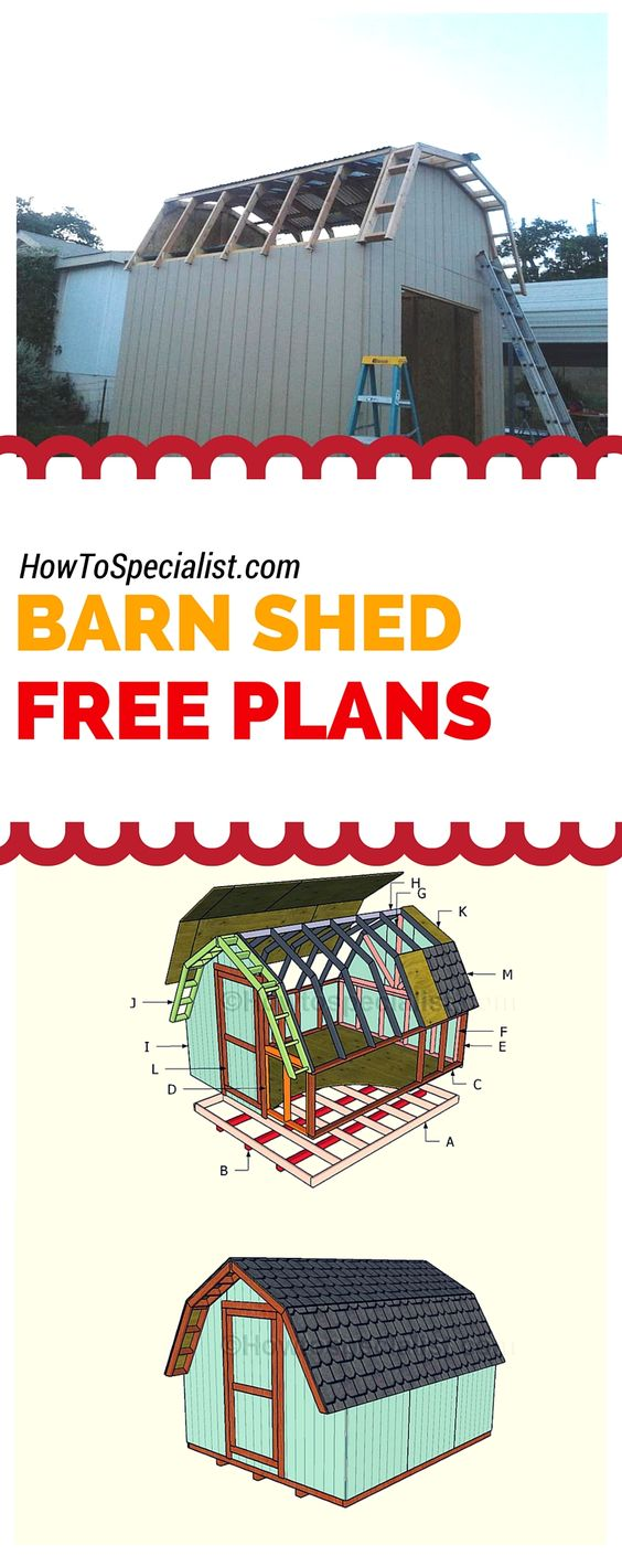 How to build a barn shed  - Easy to follow plans, ideas and instructions for building a 10x12 shed with a gambrel roof! Free plans at www.howtospecialist.com #shed #storage