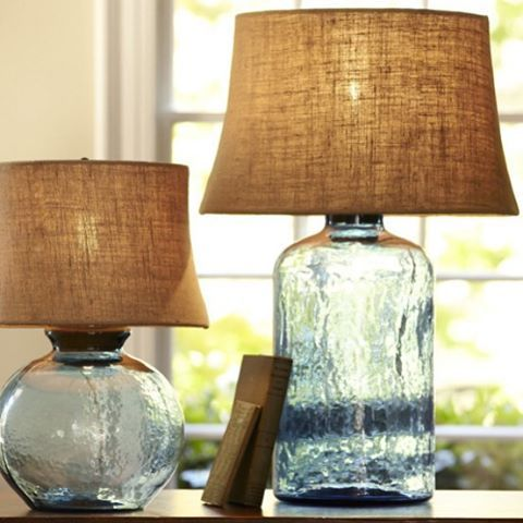 Our current lamp crush We're loving these #potterybarn glass bases.