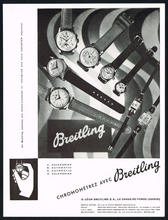 Vintage 1951 Breitling Watch Co. Wrist Watch Models Print Ad. #breitling #chronometer #chronograph #moonphase #watch #watches #vintage #ads #stawc