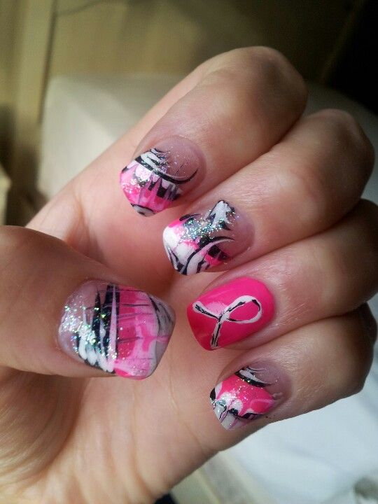 Breast Cancer Awareness Nail Art | Cancer | Pinterest | Breast ...