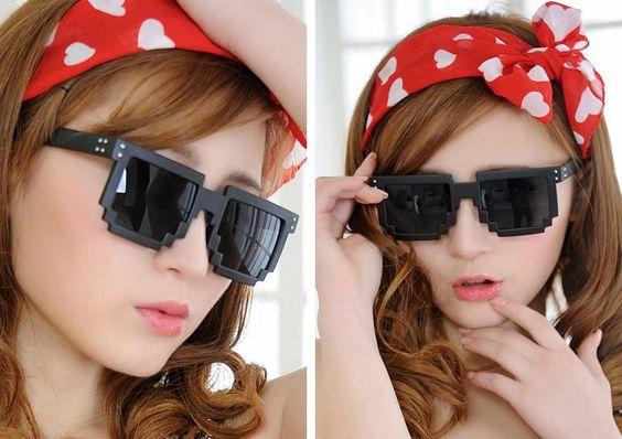 Óculos retrô pixel gamers