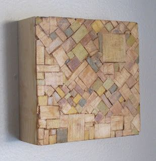 "Joshua J. Barbosa: Juniper-6""x6"" balsa, tea and acrylic on wood."