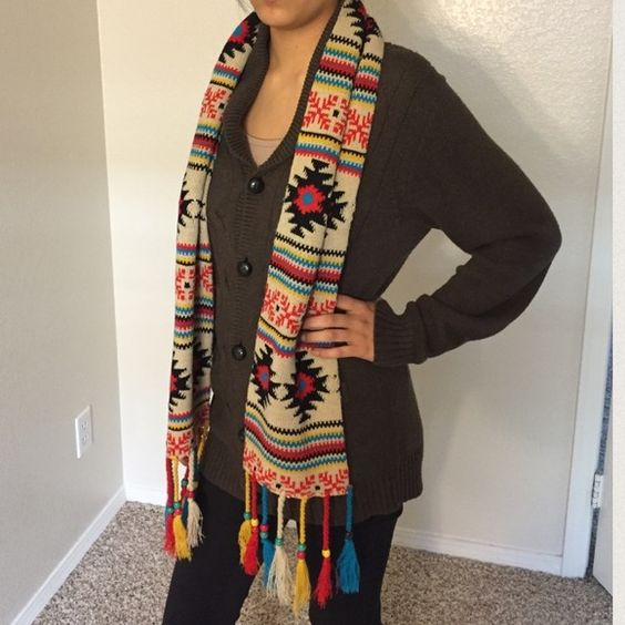 Colorful scarf Tribal color scarf❤️ 60L x 7W. Perfect for the winter weather.! ☃⛄️ only sign of wear is shown on picture 4 :) Happy poshing.! Tilly's Accessories Scarves & Wraps