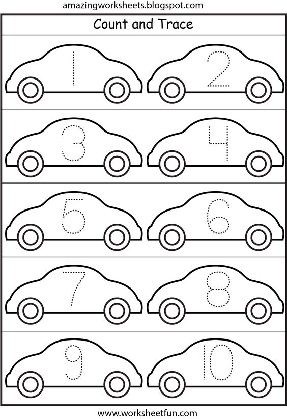 Cars Number Tracing 110 Printable Worksheets – Free Printable Number Worksheets for Kindergarten