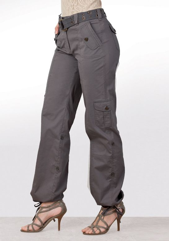 Brilliant Long Cuffed Leg Cargo Pants In Dark Khakis