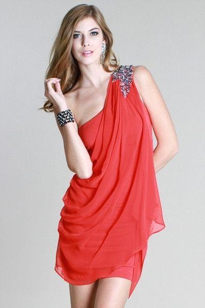 One Shoulder Draped Rhinestone Jeweled Dress