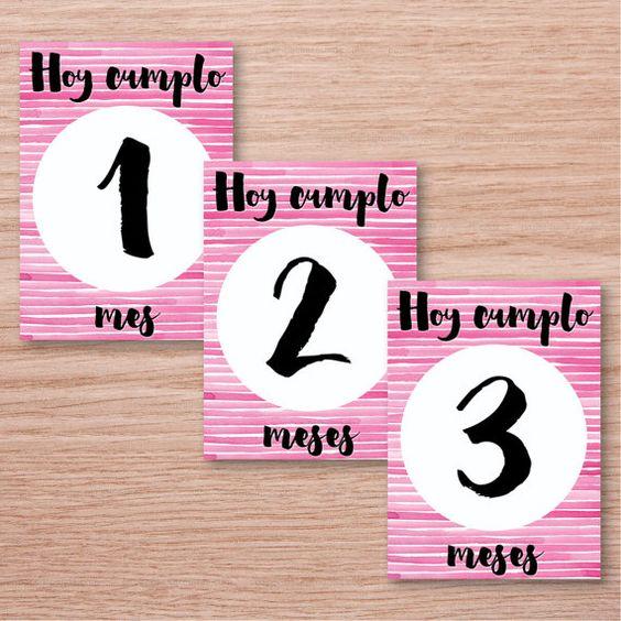 Printable Baby Milestone Cards - Spanish version