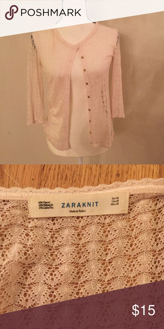 Zara knit Only worn once,still looks like new,the color is light pink Zara Sweaters Cardigans