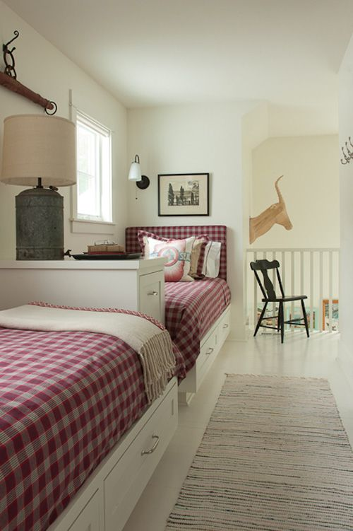 great use of space with beds against a long wall.