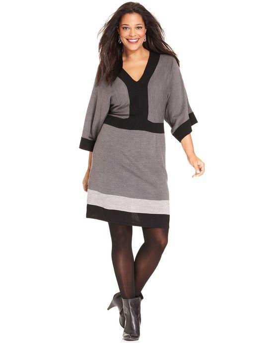 Debbie Morgan Plus Size Dolman-Sleeve Colorblocked Sweater Dress - Plus Size Dresses - Plus Sizes - Macy's