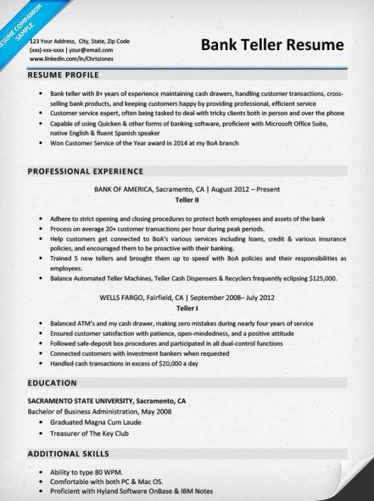 Bank Teller Resume Sample Amp Writing Tips Companion Banking