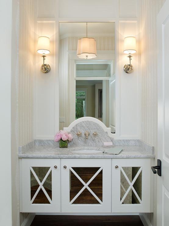 Powder Rooms Mirrored Vanity And Floating Vanity On Pinterest