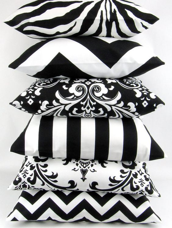 BLACK and WHITE Pillow cover 18x18 you pick zigzag chevron damask ozborne traditions stripe canopy zebrathrow cushion sham Premier Prints on Etsy, $20.00: