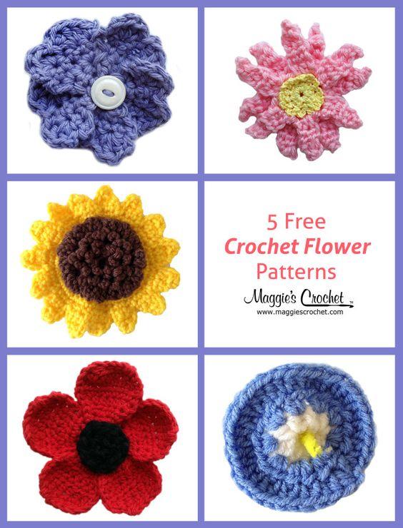 Five Flowers from Maggie\'s Crochet. | Crochet Flowers | Pinterest ...