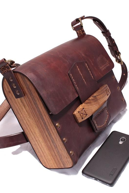 Johnny Red Wood Maxi Messenger Bag Leather Bags Handmade